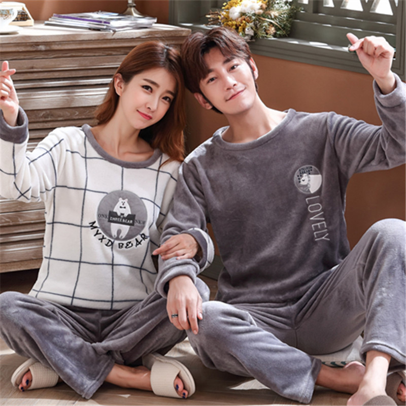 Couple Pajamas Autumn Winter Warm Flannel Thicken Pajamas For Men Long Sleeve Pyjamas Women Pijama Hombre Christmas Sleepwear