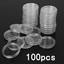 100Pcs 21/22/23/24/26/33 mm Clear Round Coin Capsules Money /Pence Storage Capsule Coin Holder Home Garden Supplies(China)