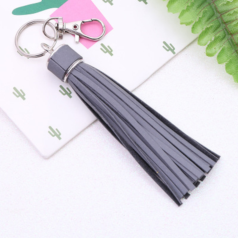 1PC Korean Reflective Fringe PU Leather Tassel,Fur Ball Keychains Key Holder Metal Key Chain Keyring Charm Bag Auto Car Key Ring