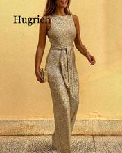 цена на 2020 Women Glitter Round Neck Streetwear Jumpsuits Slim Fit Sleeveless Backless Sequins Jumpsuit With Belt