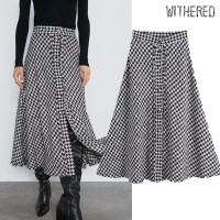Withered england elegant vintage tweed houndstooth high waist A line midi skirt women faldas mujer moda 2019 long skirts womens