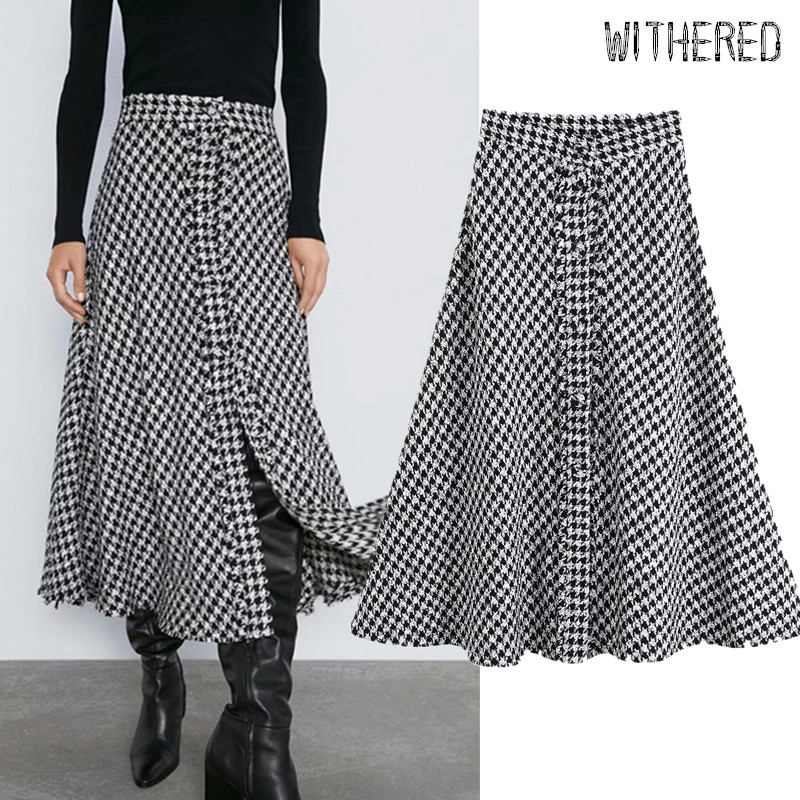 Withered England Elegant Vintage Tweed Houndstooth High Waist A-line Midi Skirt Women Faldas Mujer Moda 2019 Long Skirts Womens