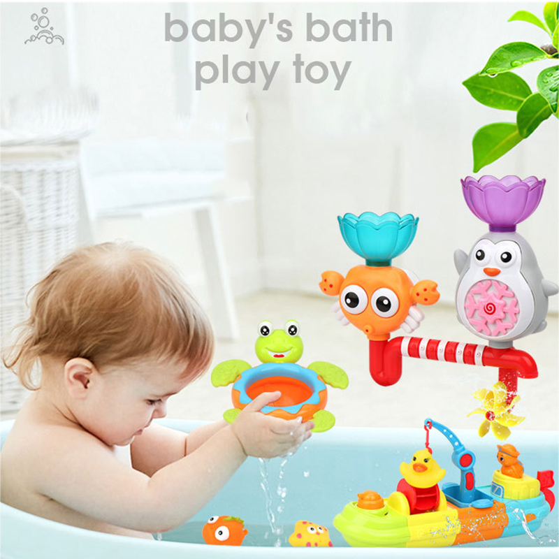 Kids Bath Toy Bathing Water Spraying Tool Cartoon Feature 3  Fountain  Suction Cup Water Shower Toy For Children Kids