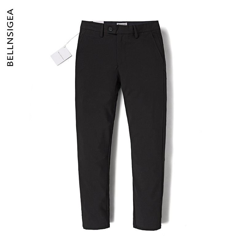 B + Summer Men's Trousers High-End Popular Brand Black Pants Solid Color Bib Overall Straight Slim Business Casual Pants Men's