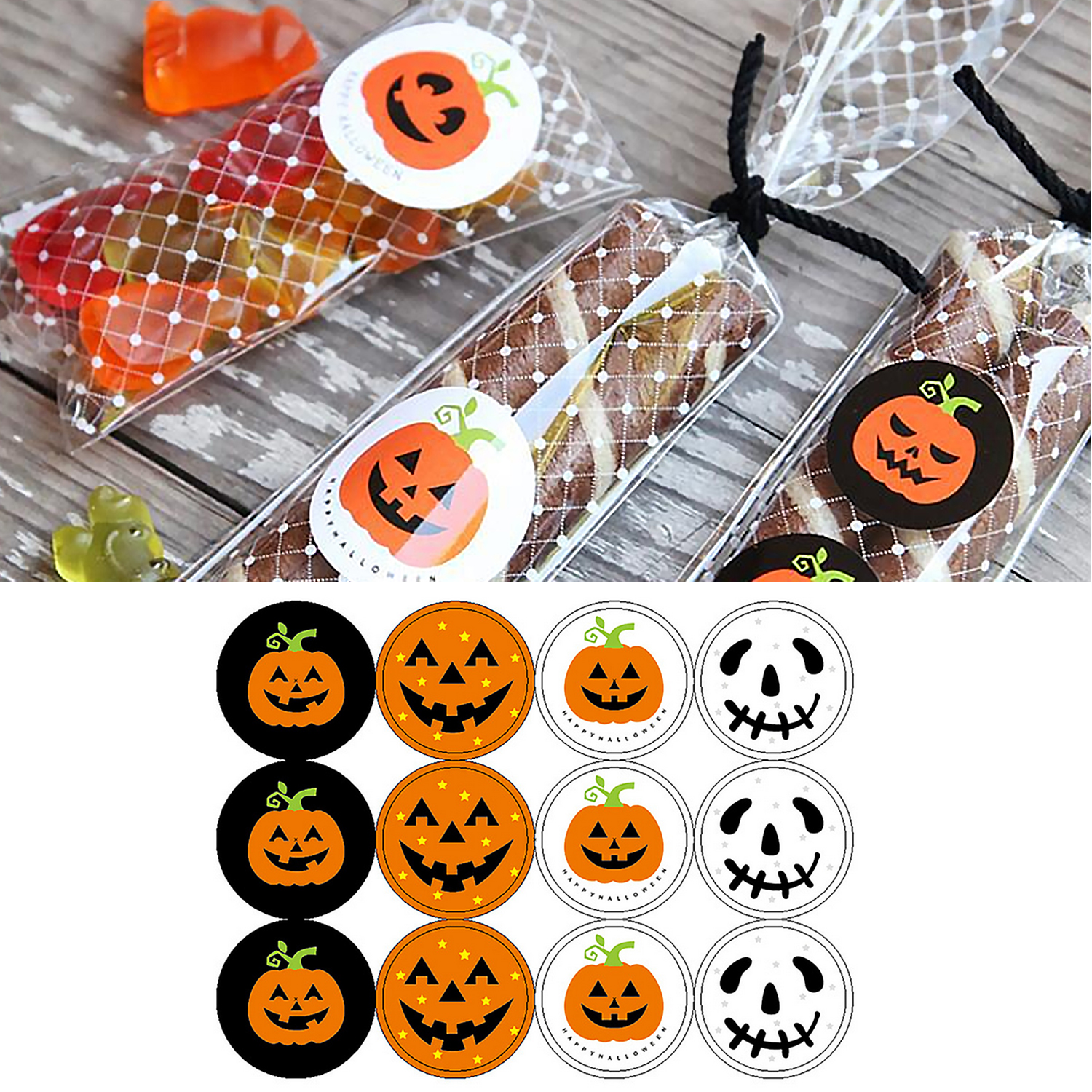 120PCS Halloween Pumpkin Skull Sealing Stickers for Party Favors Gifts <font><b>Candy</b></font> Biscuit Food <font><b>Bag</b></font> Gift Boxes Envelope Decorating image