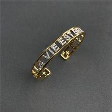 Cheny – bracelet ajouré en argent sterling s925 pour femmes, bijoux de luxe français, style bohème, jaune, avec lettres ouvertes