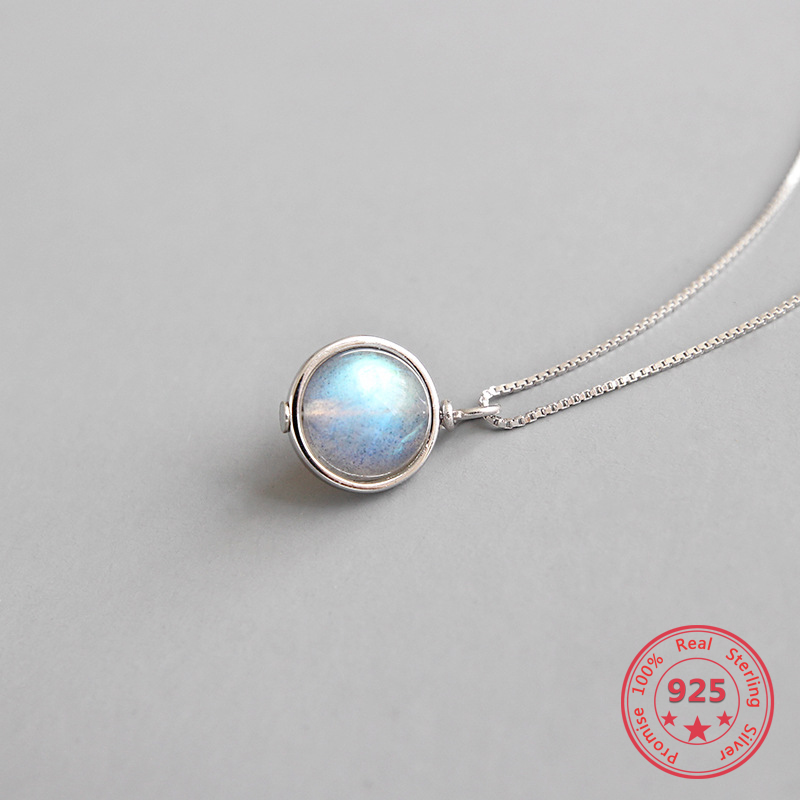 Pure S925 Sterling Silver Fine Necklaces Personality Natural Moonstone Round Pendant Fashion Box Chain Women Necklaces Jewelry