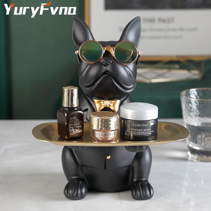 YuryFvna French Bulldog Figurine with Tray Sculpture Desk Storage Statue Decorative Coin Bank Home Room Decoration
