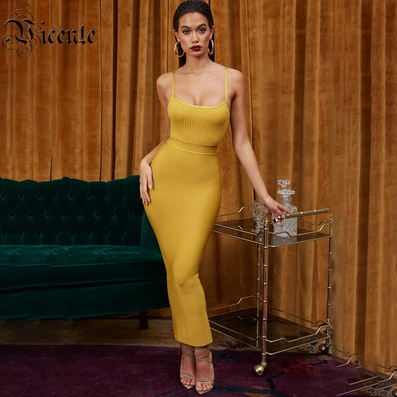 Vicente All Free Shipping 2019 New Arrival Sexy Spaghetti Straps Backless Ankle length Celebrity Party Women