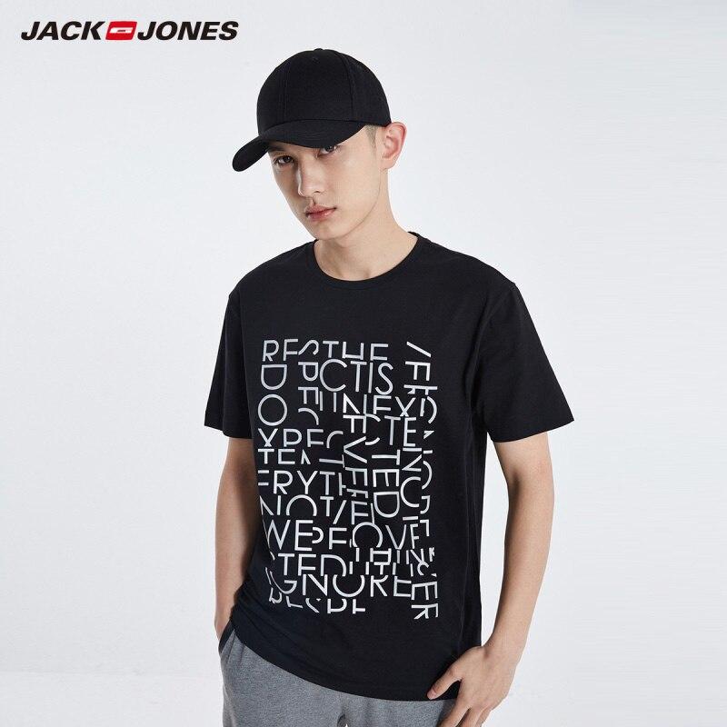 JackJones Men's Stretch Cotton Round Neckline Reflective Letter Print Short-sleeved T-shirt Style| 219101537