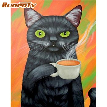 RUOPOTY 60x75cm Framed Oil Painting By Numbers Kits For Adults Drink Tea Black Cat Animal Paint By Number DIY Framed On Canvas
