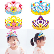 3PCS/set Non-woven DIY Crown Hat Princess Headwear Toy Handmade Creative Arts And Crafts Toys Learning Children Birthday Gifts
