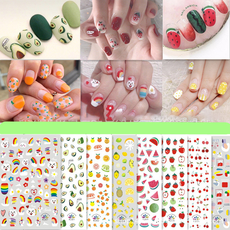 Fruits Type Watermelon Strawberry Avocado Cherry Nails Art Manicure Back Glue Decal Decorations Nail Sticker For Nails