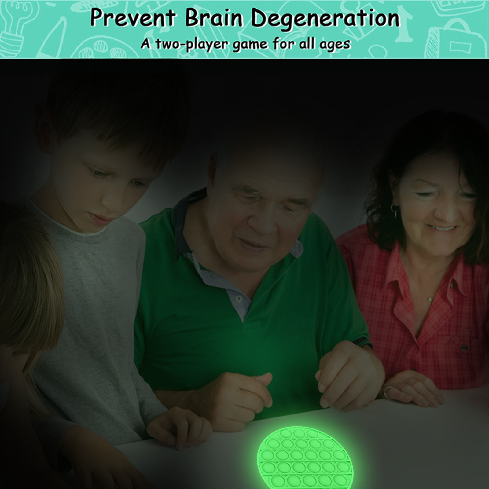 Toy Bubble-Fidget Fidget-Sensory Toy-Stress Relief Adult Glow-In-The-Dark Push Kids img4
