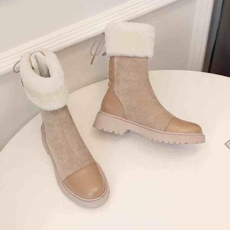 Krazing pot şık lace up inek deri patchwork akın lambswool kar botları yuvarlak ayak kış sıcak tutmak kadın orta buzağı çizmeler L45