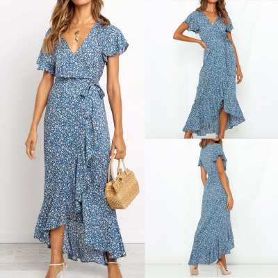 New Products 2019 Spring And Summer Hot Sales Hot Selling V-neck Holiday Floral Printed Dress Casual Skirt WOMEN'S Dress