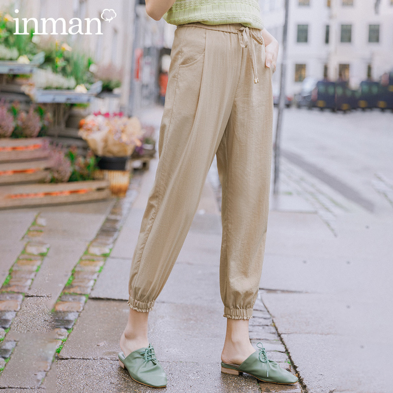 INMAN 2020 Spring New Arrival Literary Retro Elastic Waist Drawstring Ankle Banded Slimmed Ankle-Length Pant