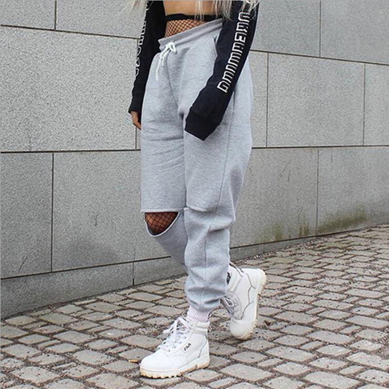 Harajuku Hip Hop Long Pants Women Jogger Hippie Harem Trousers Sweatpants Open Knees Ripped Sweat Pants Loose Streetwear