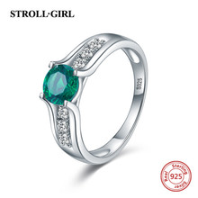 Strollgirl Hot Sale 100% 925 Sterling Silver Green CZ Finger Ring with Clear for Women 2019 Fashion Jewelry Gift