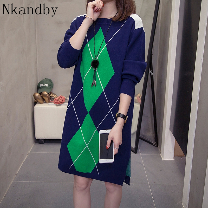 Plus Size Color Block Knitted Dress 2019 Autumn Winter Clothes Fashion Loose Large Long Sweaters Oversize Slit Knitwear Jumpers