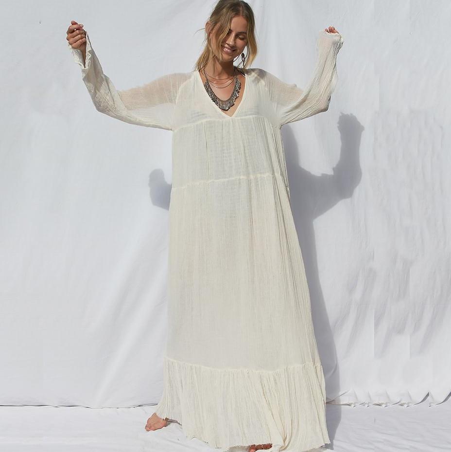 Vadim Vestidos Mujer Vestido De Festa Womens Europe And America Autumn V-neck Retro Long-sleeved Bohemian Mopping Long Sleeve