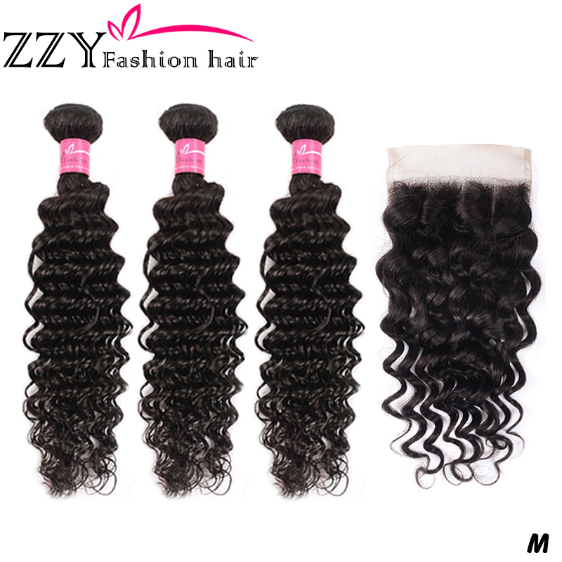ZZY Fashion Hair Brazilian Deep Wave Bundles With Closure 4*4 Lace Closure Hair Weave Bundles With Closure Human Non-remy Hair
