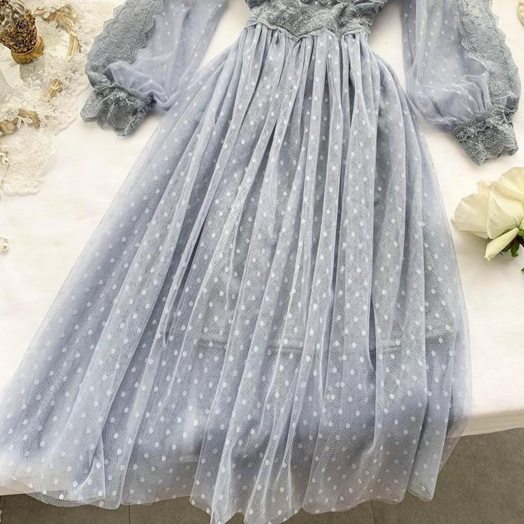 Lace Floral V-Neck Long Sleeve Polka Dot Dress 17