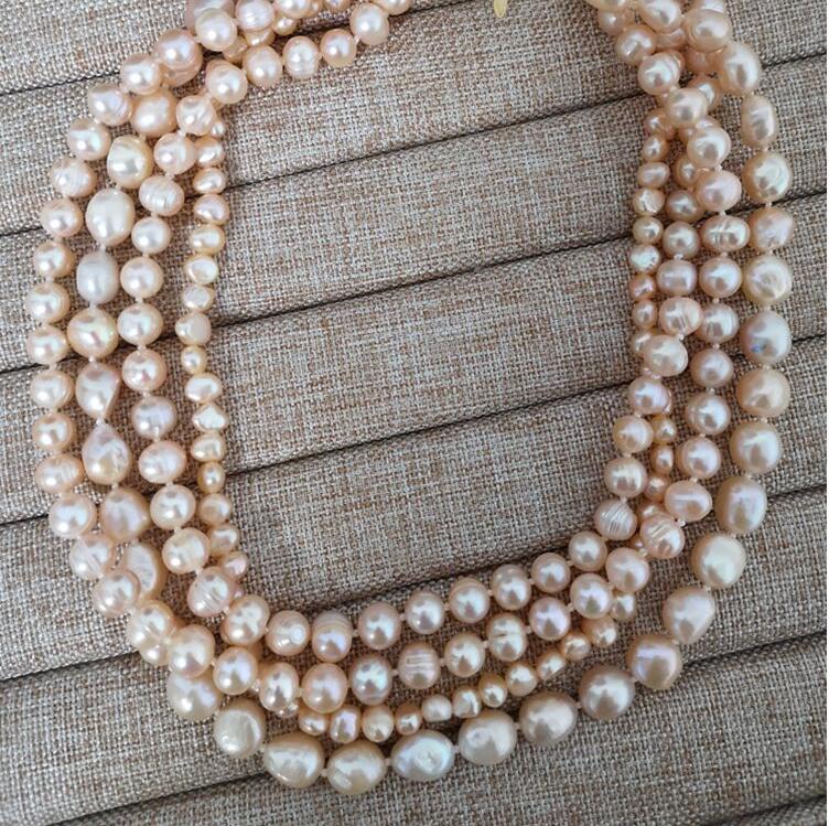 4 rangées 6mm 12mm rose ovale baroque plat perle collier ras du cou fermoir en or naturel perle d'eau douce femmes bijoux 43cm 17 ''35 cm