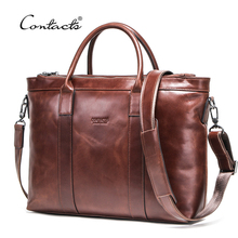 CONTACT'S Business Men Bags Genuine Leather Briefcase Male Laptop Bag Quality  Brand Shoulder Messenger Bags Men Handbags Maleta