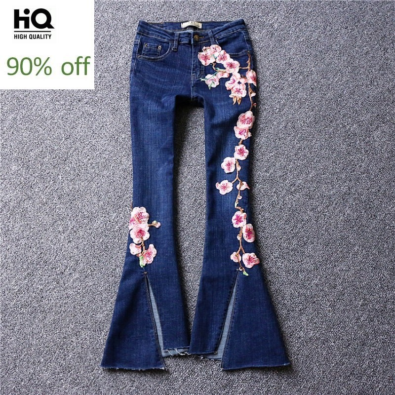 High Street Split Tassel Slim Flare Jeans Woman Embroidered Flower Casual Trousers Summer Blue Fashion Denim Wide Leg Pants S-XL
