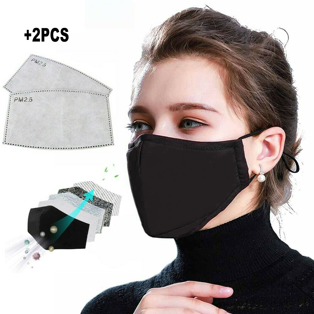 1PCS Cotton Flu Face Masks PM2.5 Black Mouth Mask Dust Mask Activated Carbon Filter Windproof Bacteria Proof Mouth-muffle