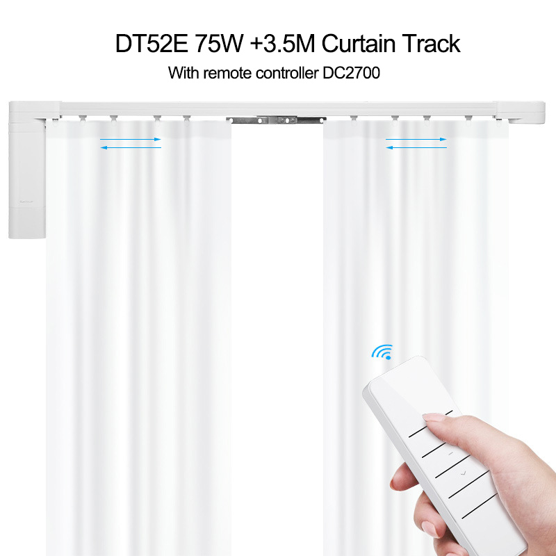 Dooya Super Silent Curtain Rails System,DT52E 75W+3.5M Curtain Track+DC2700,RF433 Remote Control,work With Broadlink Rm Pro