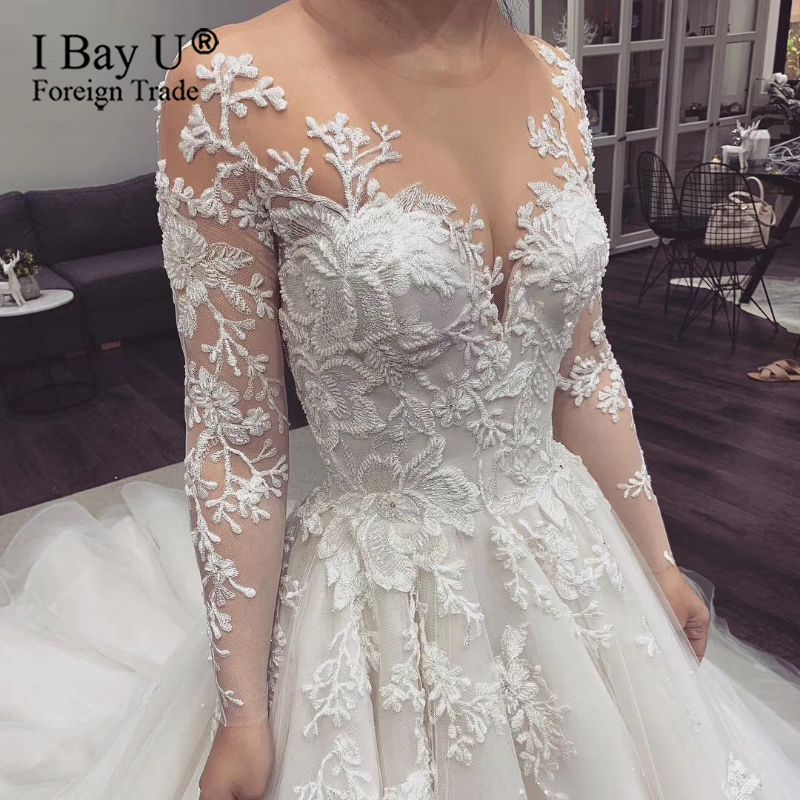 Vestido Novia Vintage Natural A Line Wedding Dresses 2020 Bride Dress Mariage Luxury Beaded Lace Long Sleeve Wedding Dress