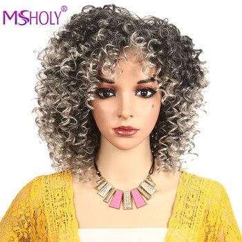 Krótkie puszyste włosy Afro peruka z kręconych włosów typu Kinky ombre brązowy miód blond peruka żaroodporne peruki syntetyczne Cosplay dla czarnych kobiet Msholy