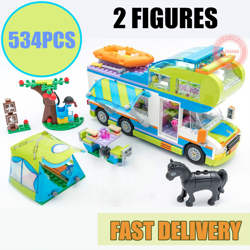 New Girl Camping Bus Car Friends Fit Legoings Friends City Building Blocks Figures Bricks Birthday Gift Kid Toys Christmas