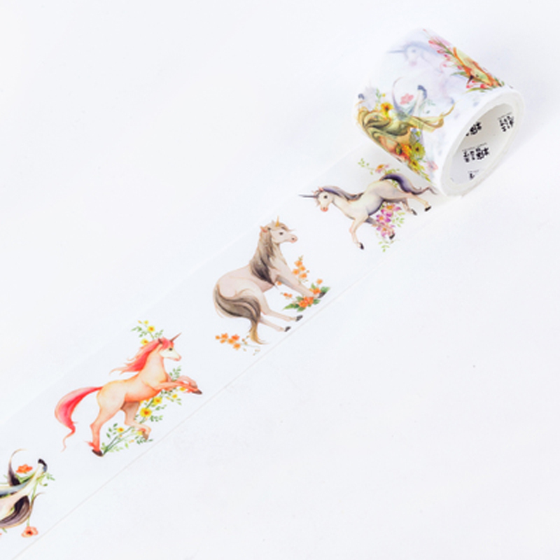 4cm X 5M Unicorn Horses Washi Paper Masking Tape Decorative DIY Craft Notebook Decor