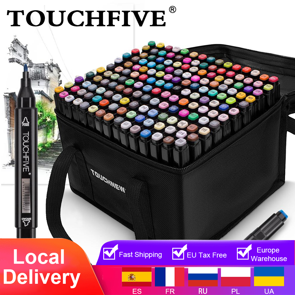 TOUCHFIVE Markers-Pen Bookmark Art-Supplies Graphic Alcohol Manga Drawing Dual-Tips Sketching