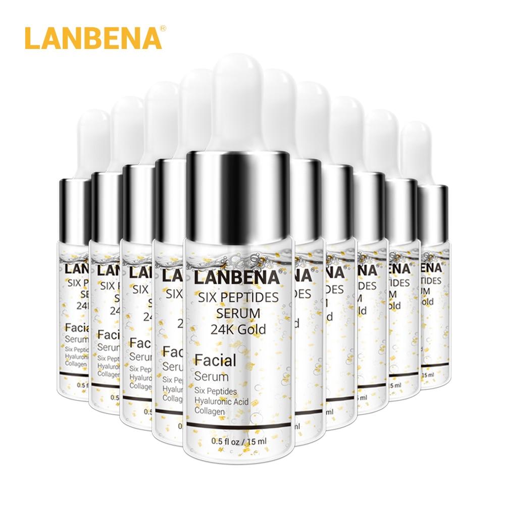 LANBENA 24K Gold Six Peptides Serum Face Cream Anti-Aging Wrinkle Lift Firming Whitening Moisturizing Acne Treatment 10PCS