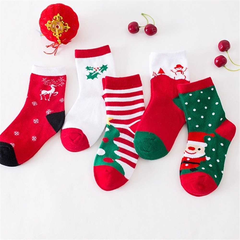 5 Pairs/Set Baby Cotton Socks Boys Girls Christmas Socks Match Christmas Costume For Kid Children Christmas Party New Year Party