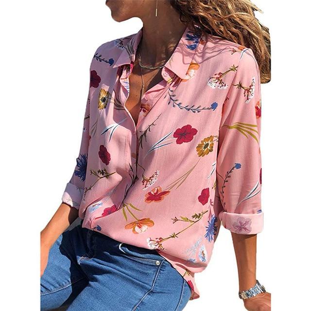 2020 New Fashion Print Women Blouses Long Sleeve Turn-down Collar Chiffon Blouse Shirt Casual Tops Plus Size Elegant Work Shirt 6