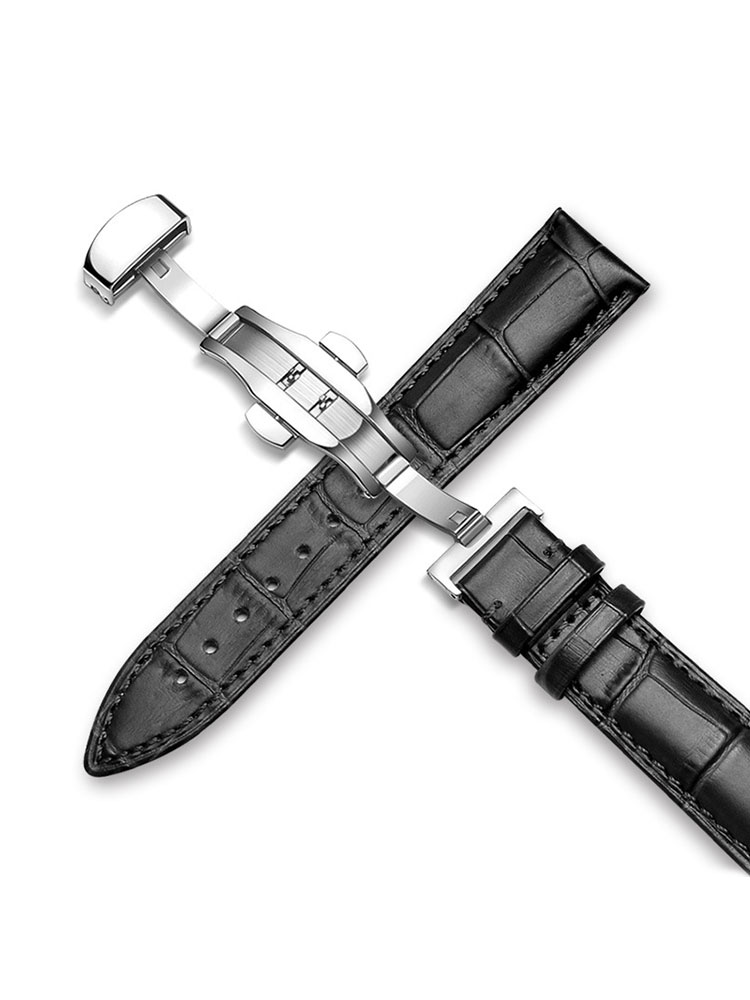 UTHAI Watch-Strap Butterfly Clasp Smart-Watch Stainless-Steel 20MM Genuine-Leather 22MM