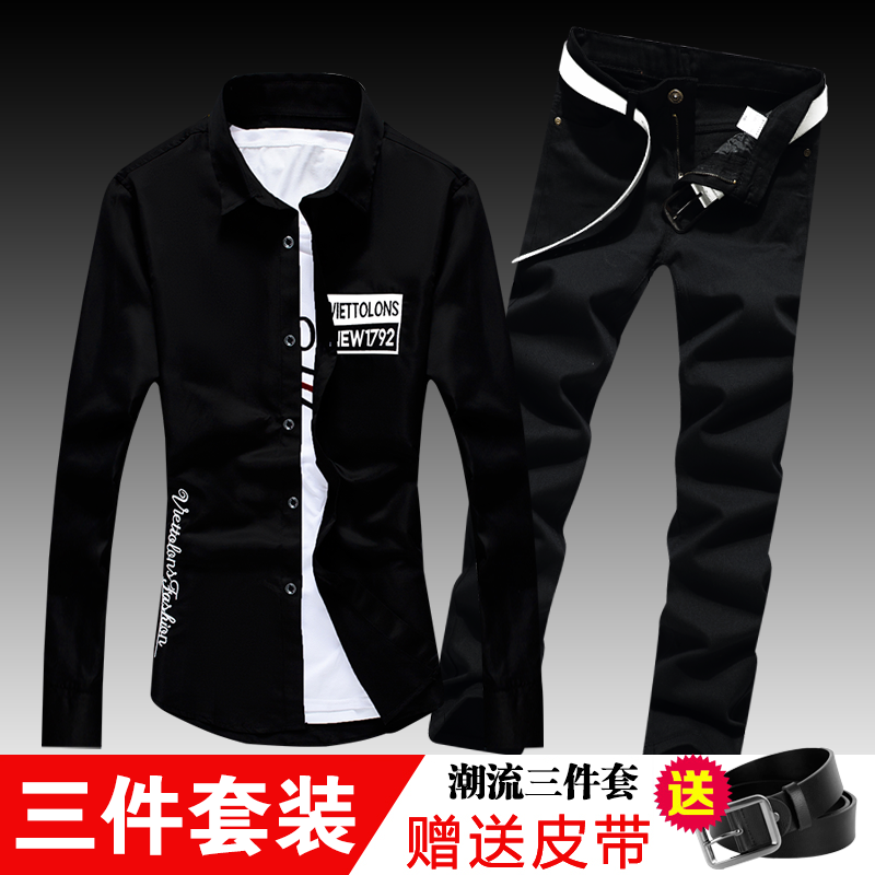 New Spring Autumn Mens Long Sleeve Shirt Casual Jeans Pencil Pants Lapel Collar Male Shirts Straight Trousers Casual 2pcs Set C3