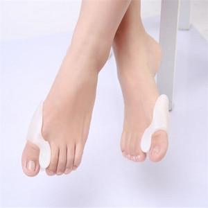 Image 4 - 1 Pair = 2 Pcs 젤 실리콘 Bunion 교정기 엄지 발가락 구분 기호 Straightener 스프레더 풋 케어 도구 Hallux Valgus Pro massager