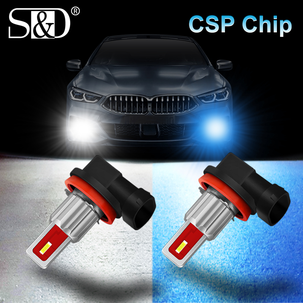 2Pcs LED H8 H11 Led Bulb 9005 HB3 9006 HB4 Led Auto Fog Light 6500K 8000K 4300K Car Lamp 12V Driving Running Lamp Blue Amber