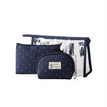 Vogvigo 3 pcs Casual Travel Cosmetic Bag PVC Leather Zipper Make Up Transparent Makeup Case Organizer Storage Pouch Toiletry