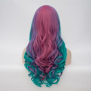 Image 3 - VICWIG Women Cosplay Multicolor Stitching Gradient Wig Long Wig Curved Big Wave Black and White Blue Pink Color Wigs