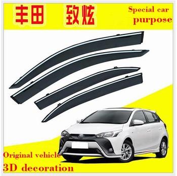For TOYOTA YARIS L 2010-2019 Car Windows Visor 4PCS 3D Bright Bar Sun Visor Sunshade Rain Guards Shield Auto Moldings