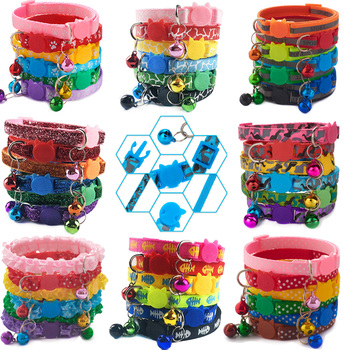 Wholesale 100pcs Dog Cat Accessories Dog Cat Puppy Collar Bell Adjustablt Buckle Pet Dog Collars Safety Leads For Cat Dog Collar