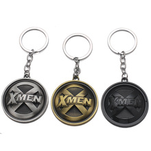 2020 New Movie Jewelry Superman SuperHero X-Men Keychain X Men Logo Metal Keyring Round Coin Key Chain Ring Souvenirs Wholesale x men