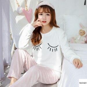 Осенне-зимние теплые фланелевые женские пижамные комплекты из плотного бархата кораллового цвета с длинными рукавами, пижамы с героями мультфильмов, тонкие фланелевые пижамы для девочек